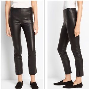 NWT Vince 100% Leather Cropped Split Hem Pants